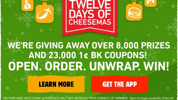 Burger King 12 Days of Cheesemas Sweepstakes