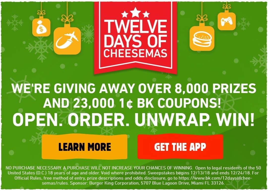 Burger King 12 Days of Cheesemas Sweepstakes - Santa's