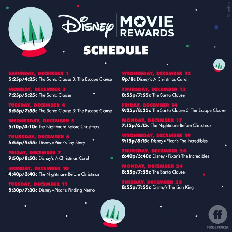 Freeform 25 Days of Christmas Disney Codes   Santa's Sweepstakes